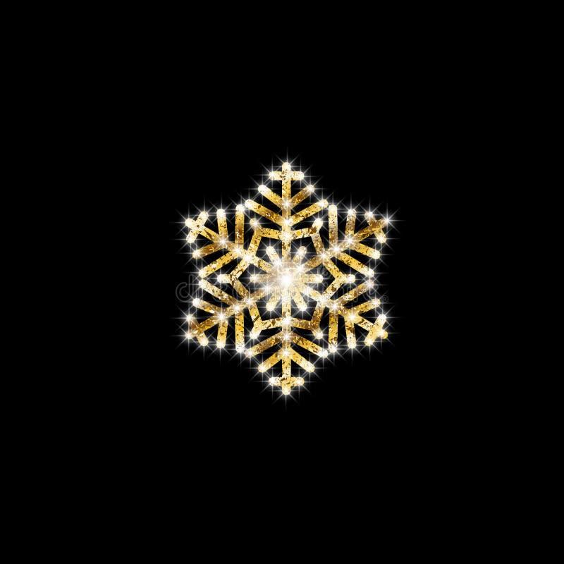 Guld- abstrakt snöflinga Modell för jul för nytt år för vinter Dekorativ beståndsdel för vektor på svart isolerad bakgrund vektor illustrationer