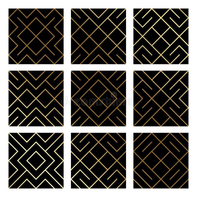 Guld- abstrakta geometriska modellbakgrunder ställde in med guld blänker textur Nickar den sömlösa modellen för vektorn eller rom vektor illustrationer