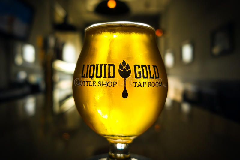 Guld- Ale Pint Glowing i solljus royaltyfria foton