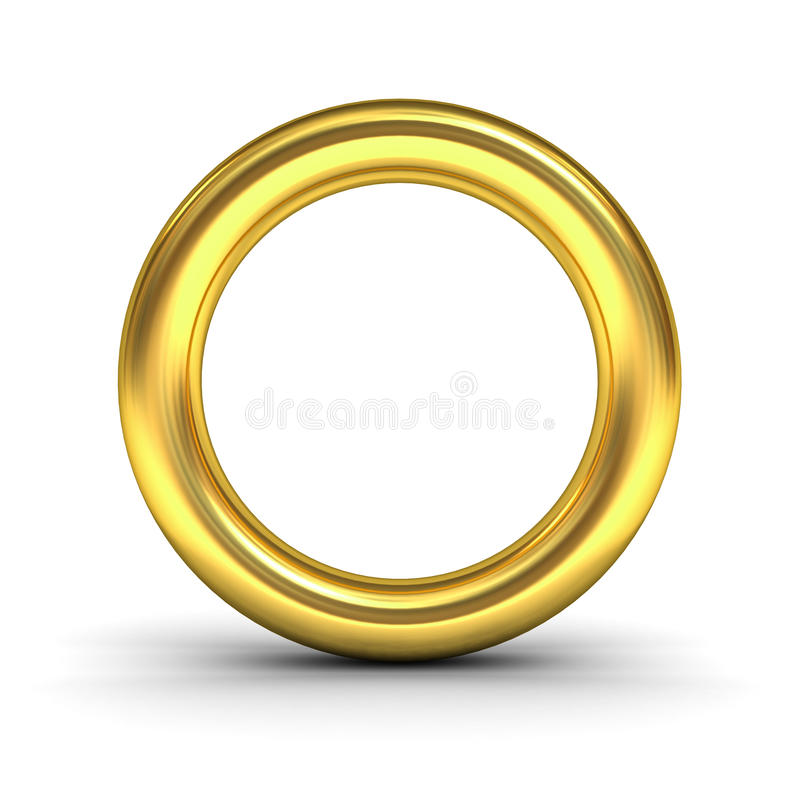 Guld- alfabetbokstavsnolla eller guld- cirkel vektor illustrationer