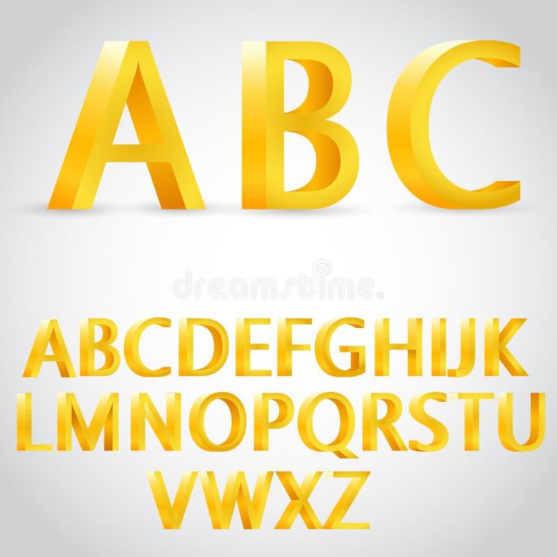Guld- alfabetillustration för vektor 3d royaltyfri illustrationer