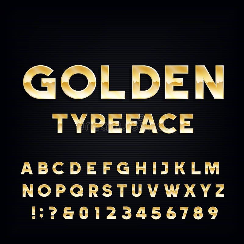 Guld- alfabetvektorstilsort Bokstäver och nummer för metallisk effekt skinande på en mörk bakgrund vektor illustrationer