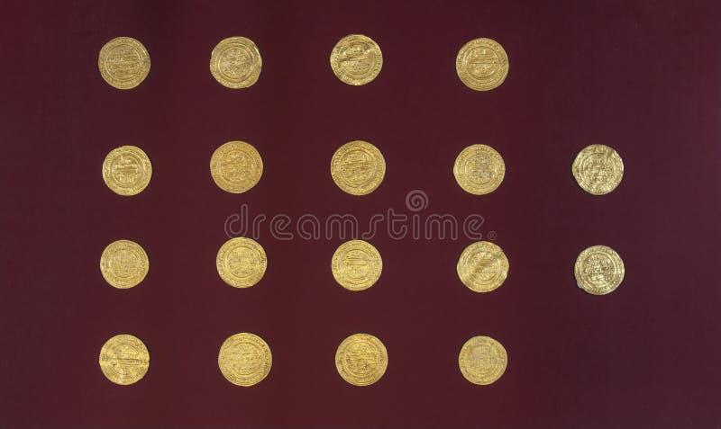 Guld- Almoravid dinar från al-Andalus, Spanien arkivfoton