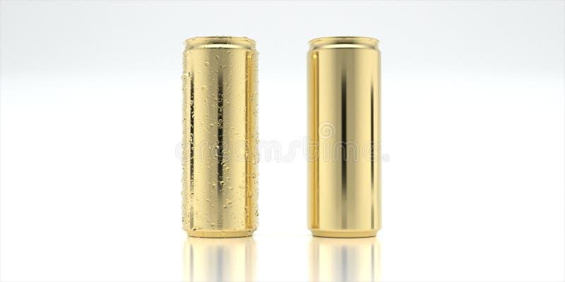 Guld- aluminiumburk för modell fotografering för bildbyråer