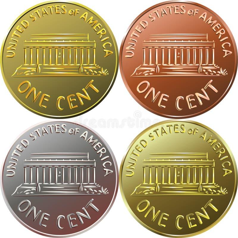 Guld- amerikanpengar myntar en cent, encentmynt royaltyfri illustrationer