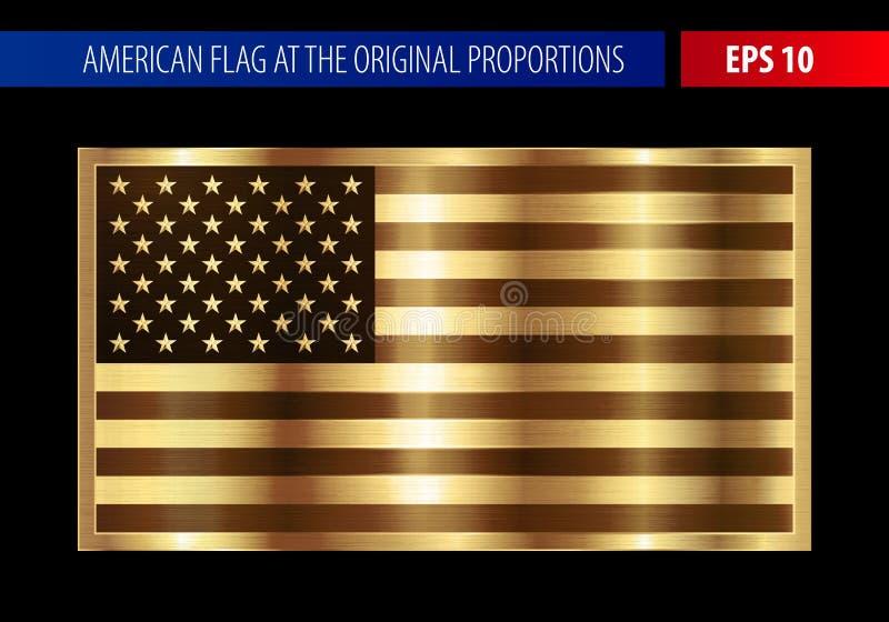 Guld- amerikanska flaggan i en metallisk ram royaltyfri illustrationer
