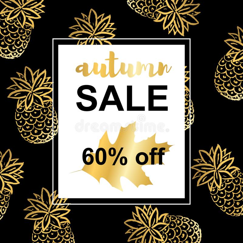 Guld- ananors Autumn Sale mall stock illustrationer