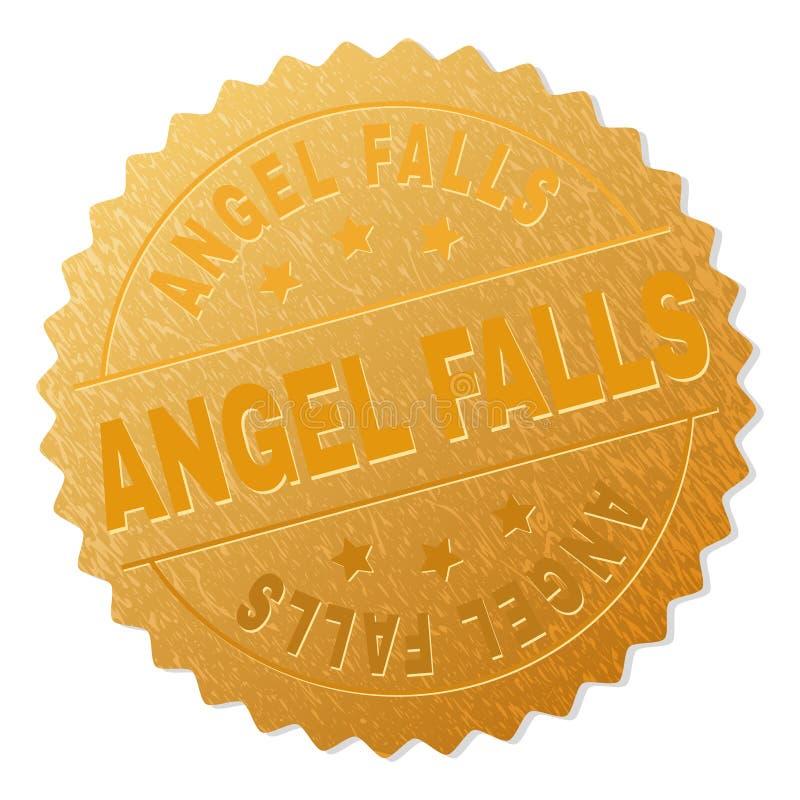 Guld- ANGEL FALLS utmärkelsestämpel royaltyfri illustrationer