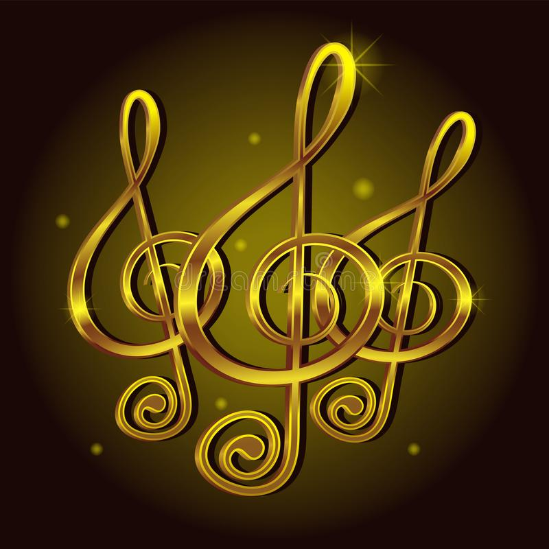 Guld- anmärkning för G-klavmusiktecken Dekorativ bild för symbolsbeståndsdelvektor vektor illustrationer