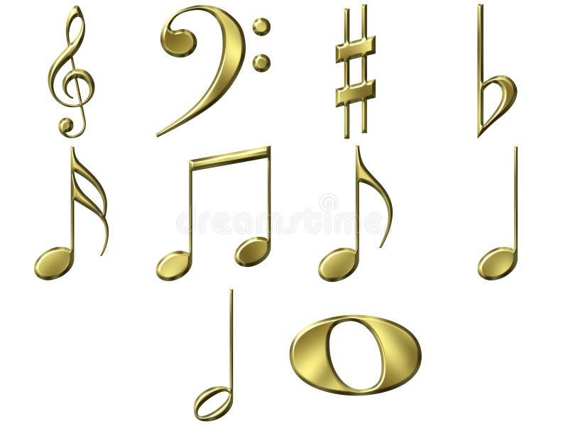 guld- anmärkningar för musik 3d royaltyfri illustrationer
