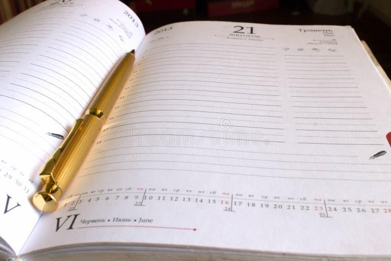 guld- anteckningsbokpenna arkivbilder