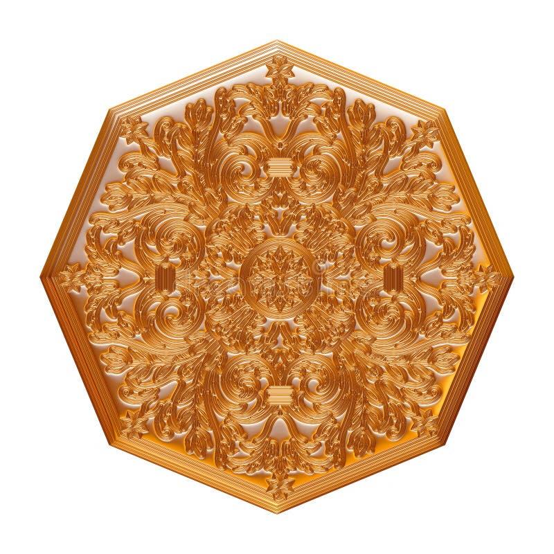 Guld- antik hänge som isoleras på vit royaltyfri illustrationer