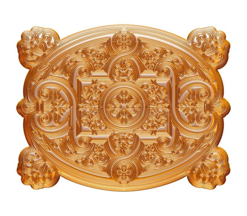 Guld- antik hänge som isoleras på vit stock illustrationer