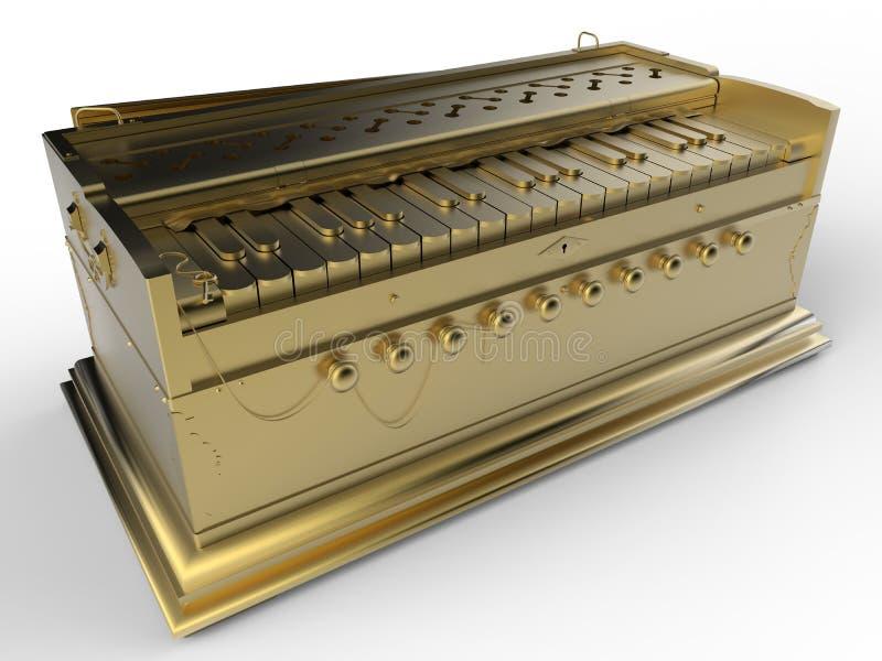 Guld- antik harmonium stock illustrationer