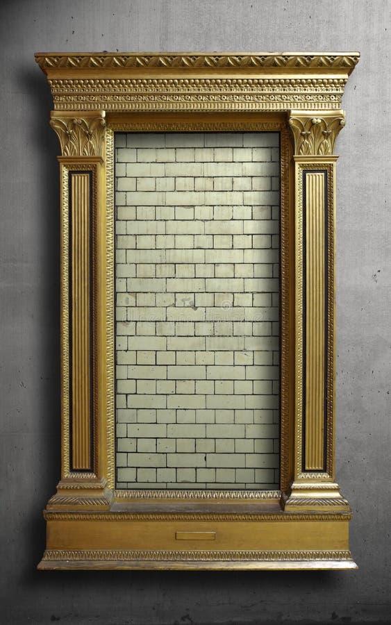 Guld- antik ram på betongväggen royaltyfri foto