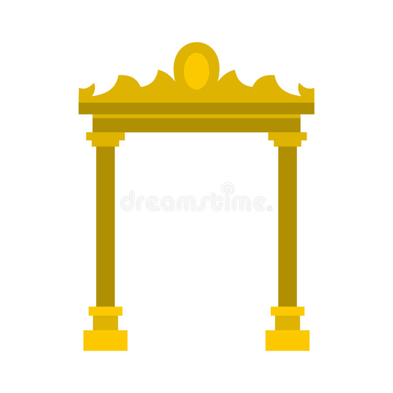 Guld- antikvitetbågesymbol, lägenhetstil royaltyfri illustrationer
