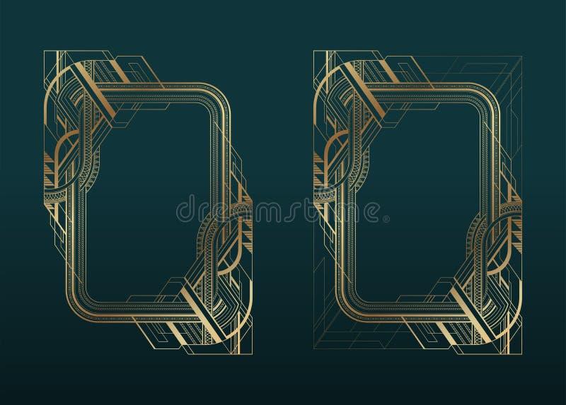 Guld- art décoramar ställde in på mörk turkosbakgrund vektor illustrationer