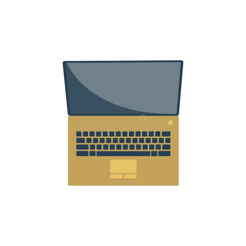 Guld- bärbar datorsymbol royaltyfri illustrationer