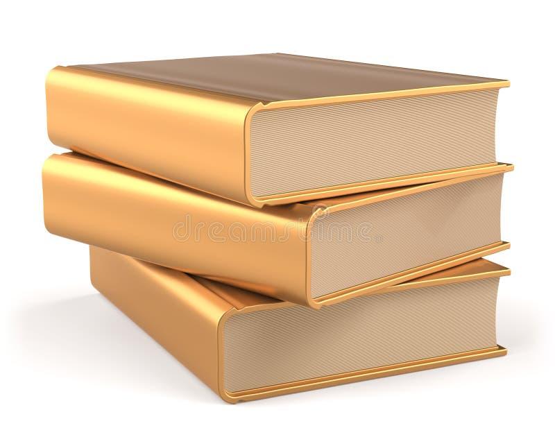 Guld- böcker 3 för buntmellanrum för tre lärobok symbol för gul guld royaltyfri illustrationer