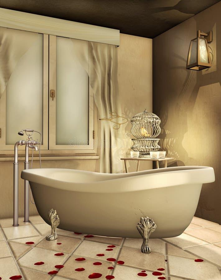 Guld- badrum vektor illustrationer