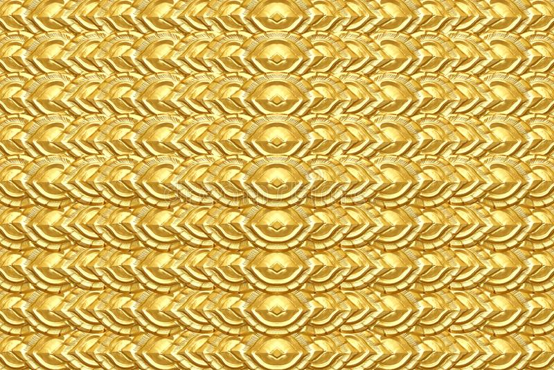 Guld- bakgrund eller textur, trä att snida guld- målarfärg royaltyfria foton
