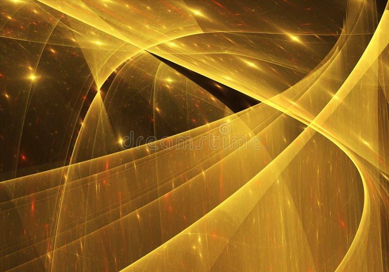 Guld- bakgrund för abstrakt fractal, textur Modell reklamblad, baner Fractalkonst, bokeh fotografering för bildbyråer