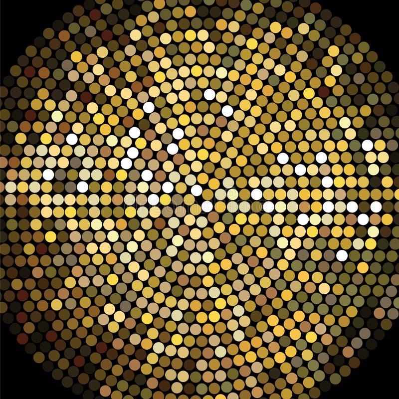 Guld- bakgrund för diskobollmosaik royaltyfri illustrationer