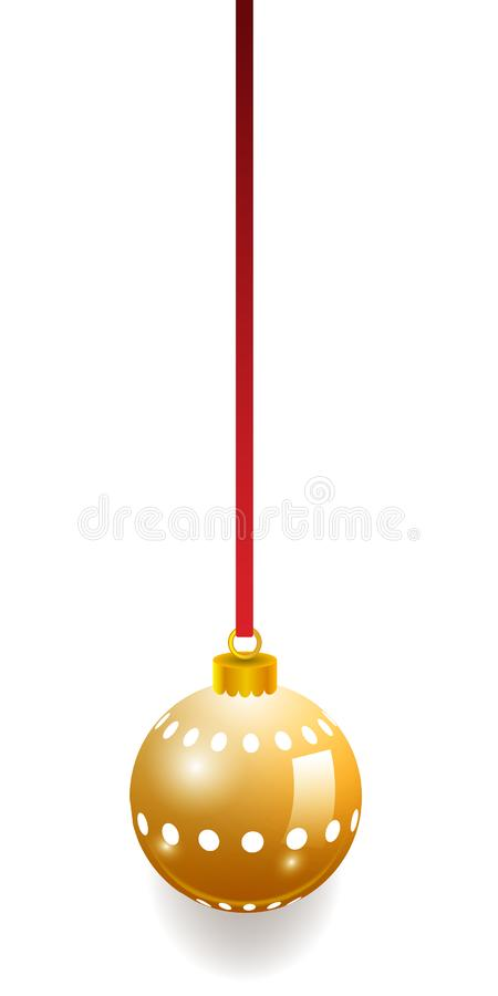 Guld- bakgrund för julbollgarnering Traditionell struntsak för lyckligt nytt år Specificerade 3d framför Ljust skinande dekorativ vektor illustrationer