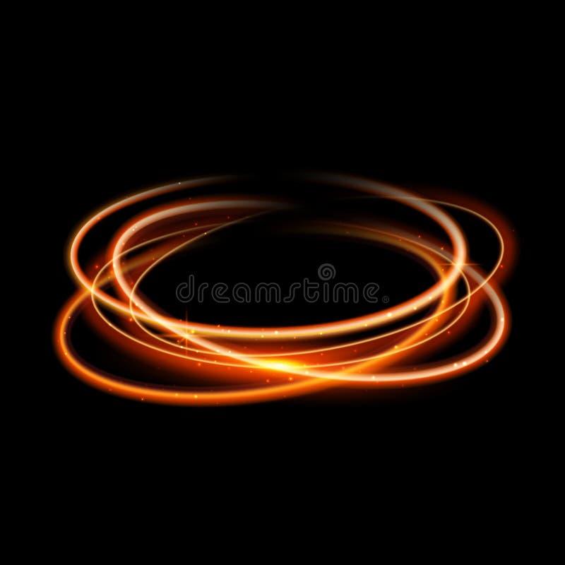 Guld- bakgrund för ljus effekt för cirkel Magisk linje slinga för virvelglöd Rörelse för ljus effekt royaltyfri illustrationer