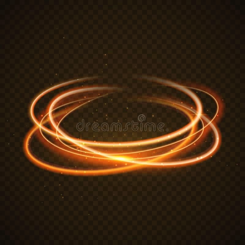 Guld- bakgrund för ljus effekt för cirkel Magisk linje slinga för virvelglöd Rörelse för ljus effekt vektor illustrationer
