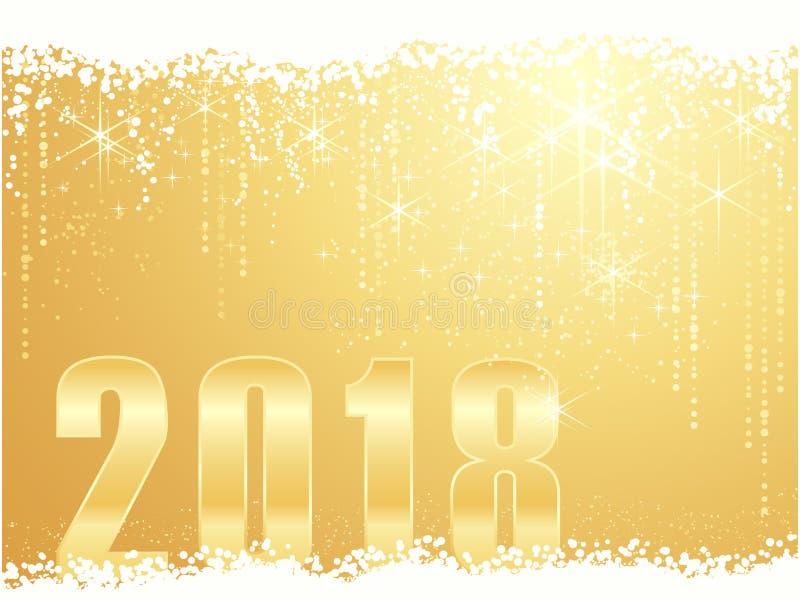 Guld- bakgrund 2018 för lyckligt nytt år arkivbilder