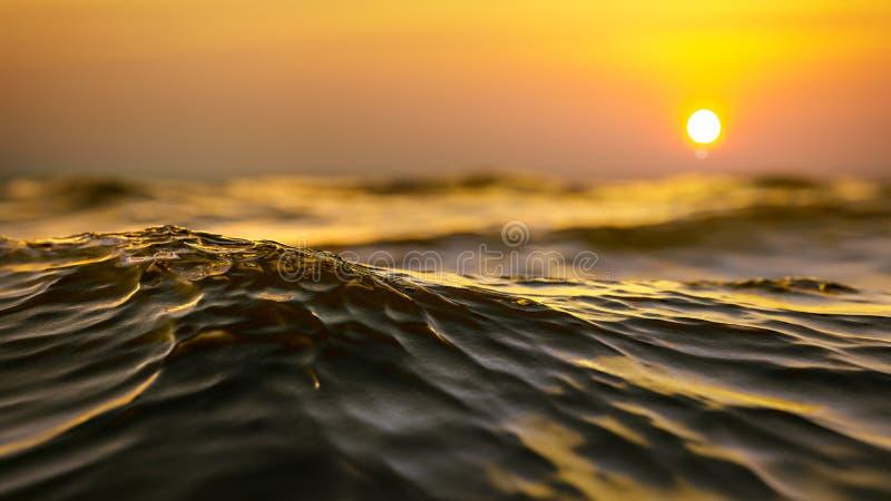 guld- bakgrund för solnedgånghavvåg stock illustrationer