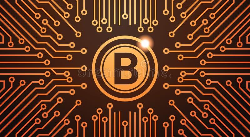 Guld- bakgrund för strömkrets för begrepp för pengar för Bitcoin Digital valutarengöringsduk vektor illustrationer