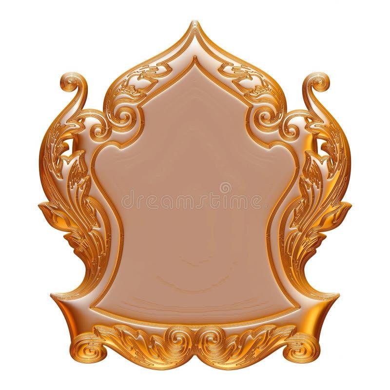 Guld- bakgrund för tappning, ram för smycken 3D på isolerad vit vektor illustrationer