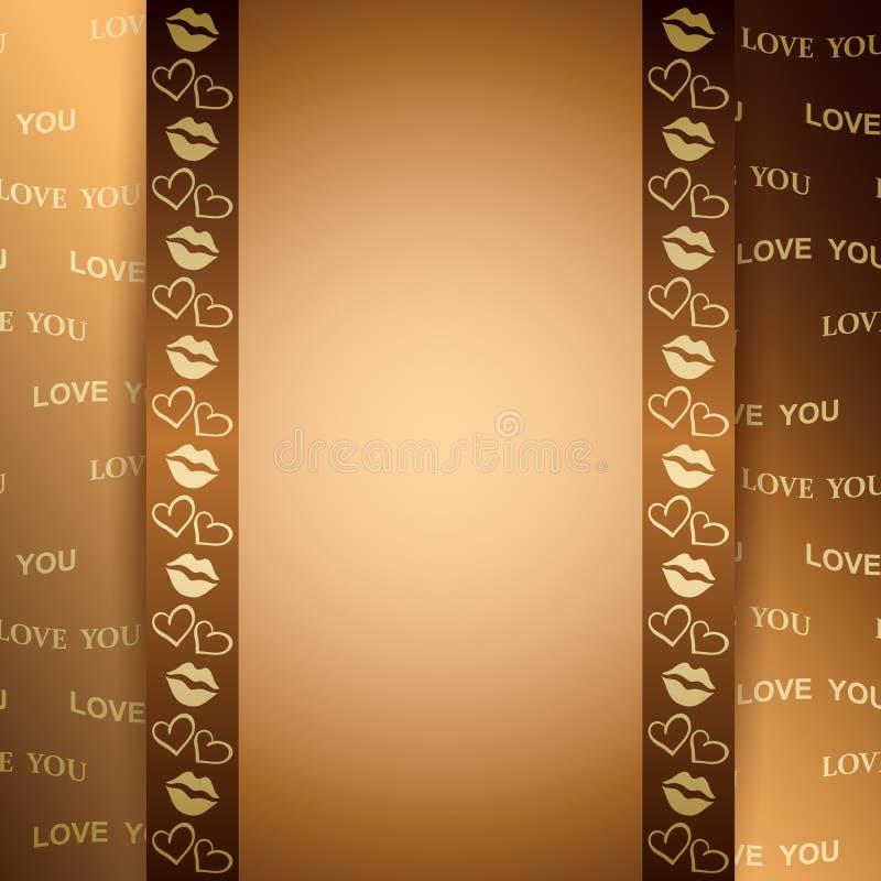 Guld- bakgrund för valentindag med text - vektorförälskelse dig royaltyfri illustrationer