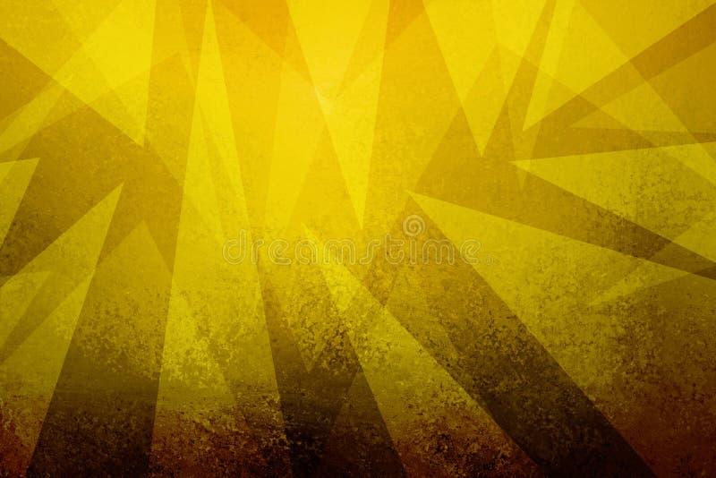 Guld- bakgrund med abstrakt triangeldesign med grunge texturerade gränsen vektor illustrationer