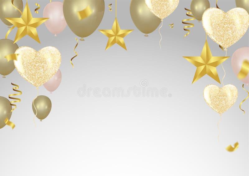 Guld- bakgrund med ballonger och hjärta sväller, konfettier royaltyfri illustrationer