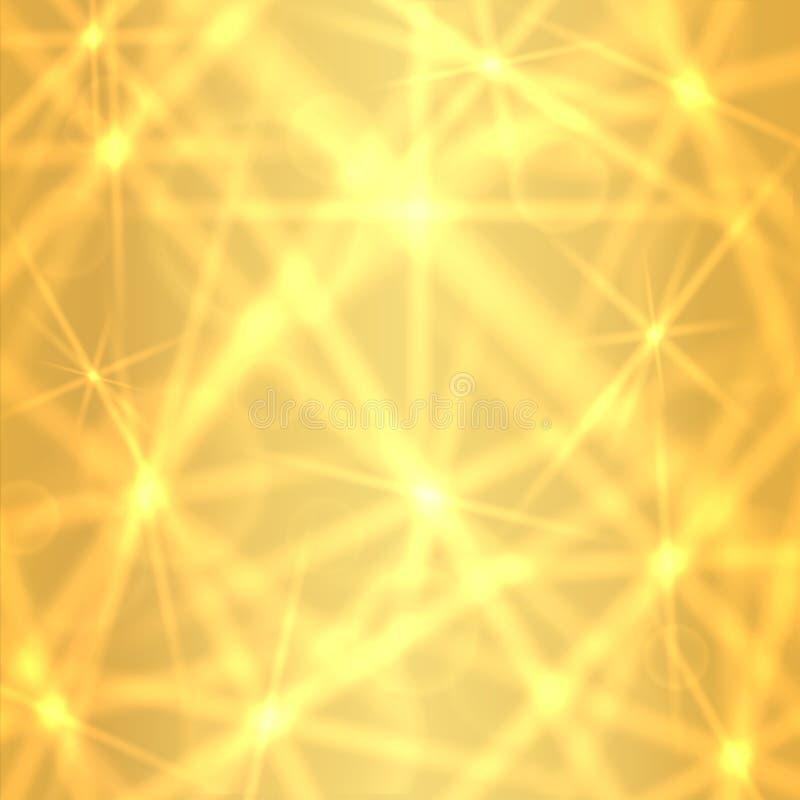 Guld- bakgrund med brusanden som blinkar stjärnor royaltyfri illustrationer
