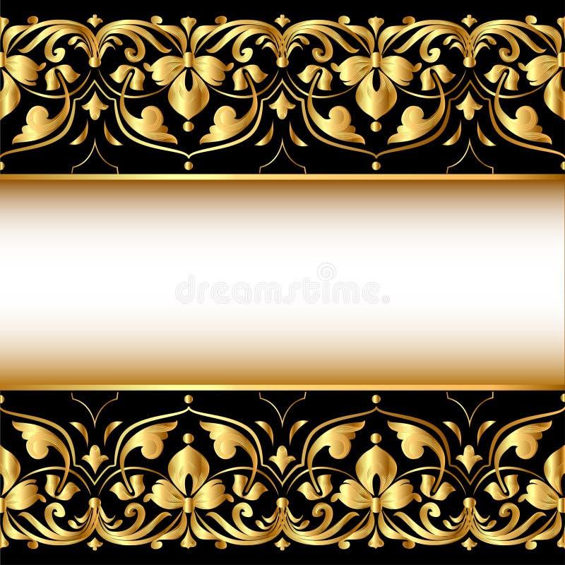 Guld- bakgrund med en remsa med en guld- vegetative prydnad vektor illustrationer