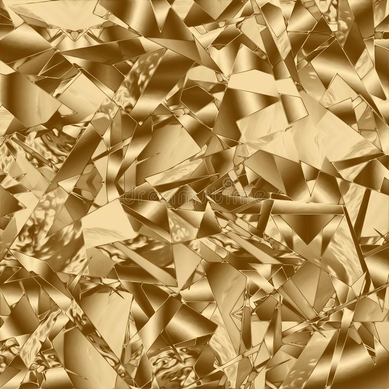 Guld bakgrund och glödande gyllene design, spricka stock illustrationer