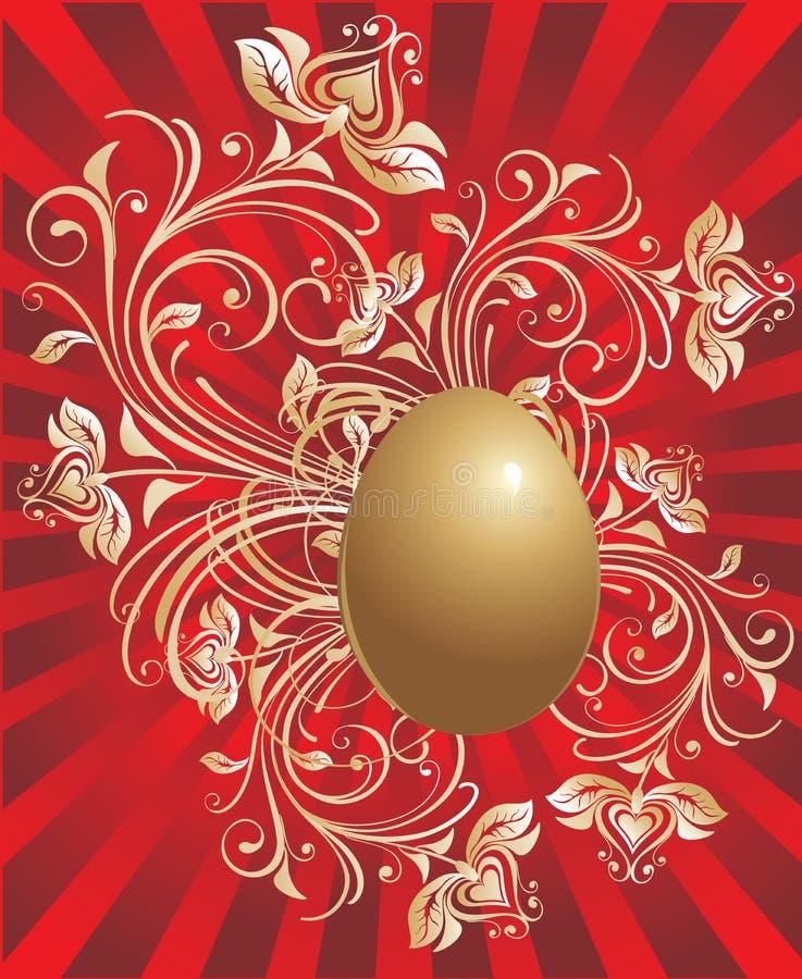 guld- bakgrundseaster ägg royaltyfri illustrationer