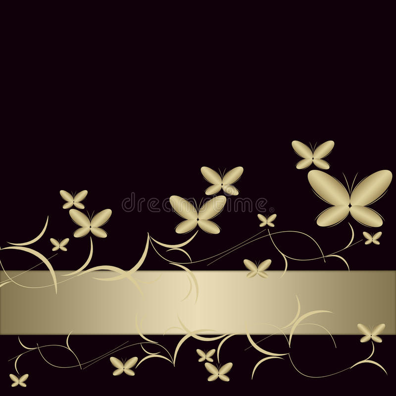 guld- bakgrundsfjärilar vektor illustrationer