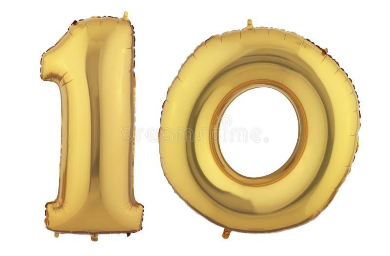 Guld- ballong tio royaltyfri illustrationer