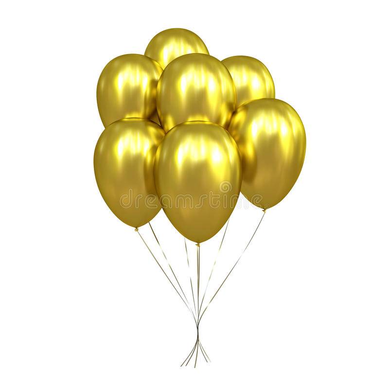 7 guld- ballonger royaltyfri illustrationer