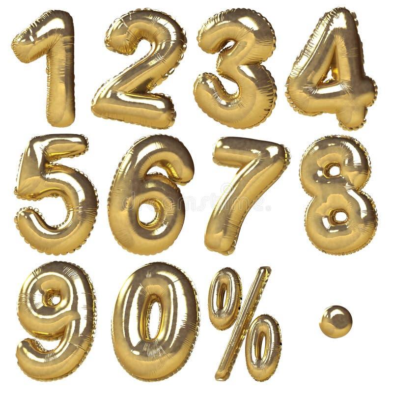 Guld- ballonger av nummer & procentsatssymboler arkivbild