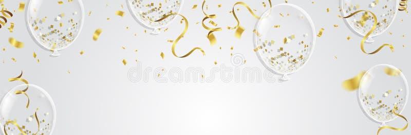 Guld- ballonger, konfettier och banderoller på vit bakgrund Vecto stock illustrationer