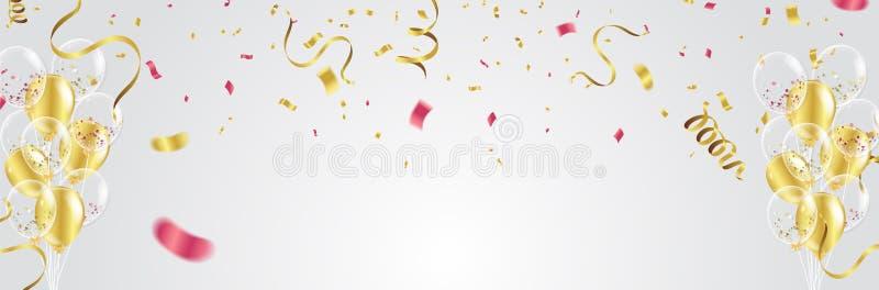 Guld- ballonger, konfettier och banderoller på vit bakgrund Vecto royaltyfri illustrationer