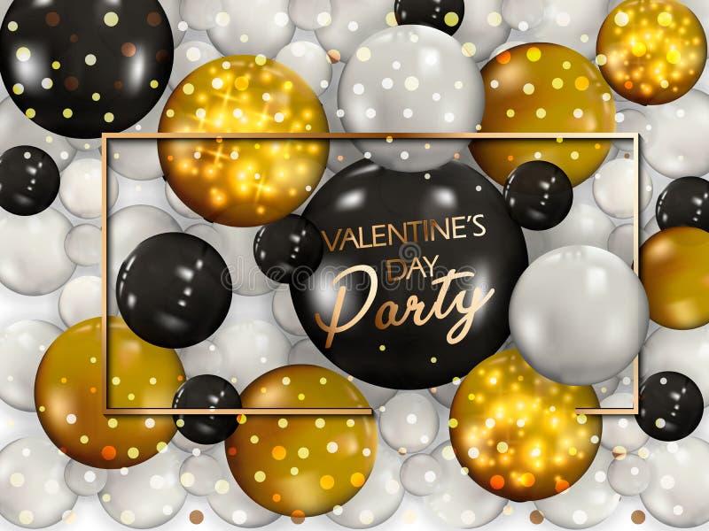 Guld- ballonger med konfettier lyckliga valentiner för dag vektor Lycklig dag för valentin s Hälsningkortdesign Metalliska ballon stock illustrationer