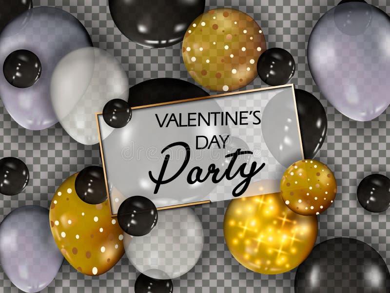 Guld- ballonger med konfettier lyckliga valentiner för dag vektor Lycklig dag för valentin s Hälsningkortdesign Metalliska ballon royaltyfri illustrationer