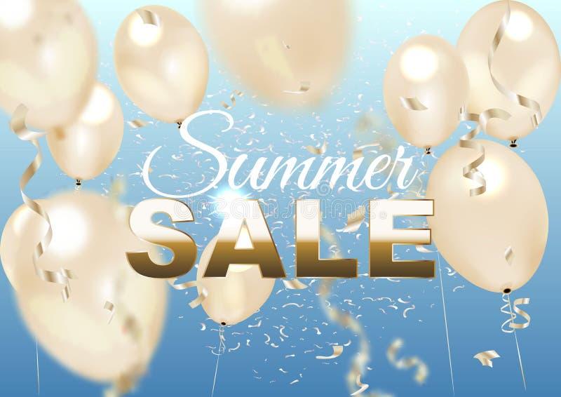 Guld- ballonger, sommarhimmel och varm sommar Sale för text royaltyfri illustrationer